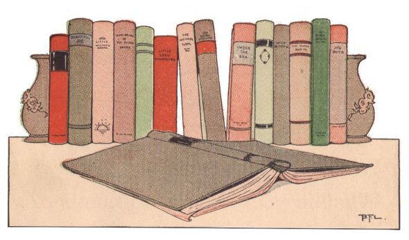 Vintage book shelf illustration